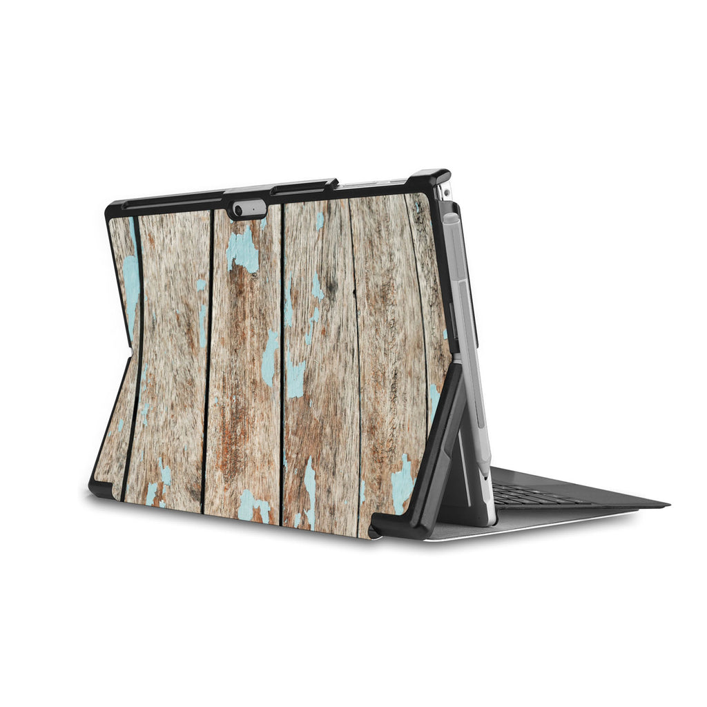 the back side of Personalized Microsoft Surface Pro and Go Case in Movie Stand View with Wood design - swap
