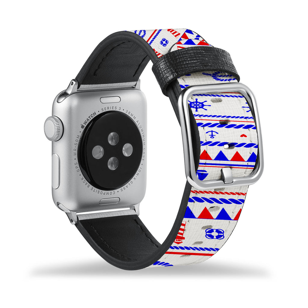 Printed Leather Apple Watch Band with Nautical design Like all Apple Watch bands, you can match this band with any Apple Watch case of the same size