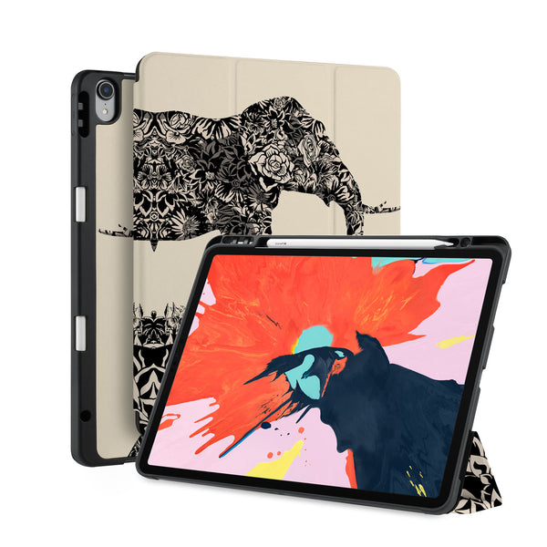 front back and stand view of personalized iPad case with pencil holder and Flower Animal design