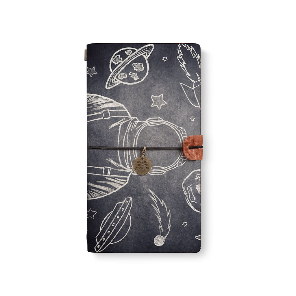 the front top view of midori style traveler's notebook with Astronaut Space design