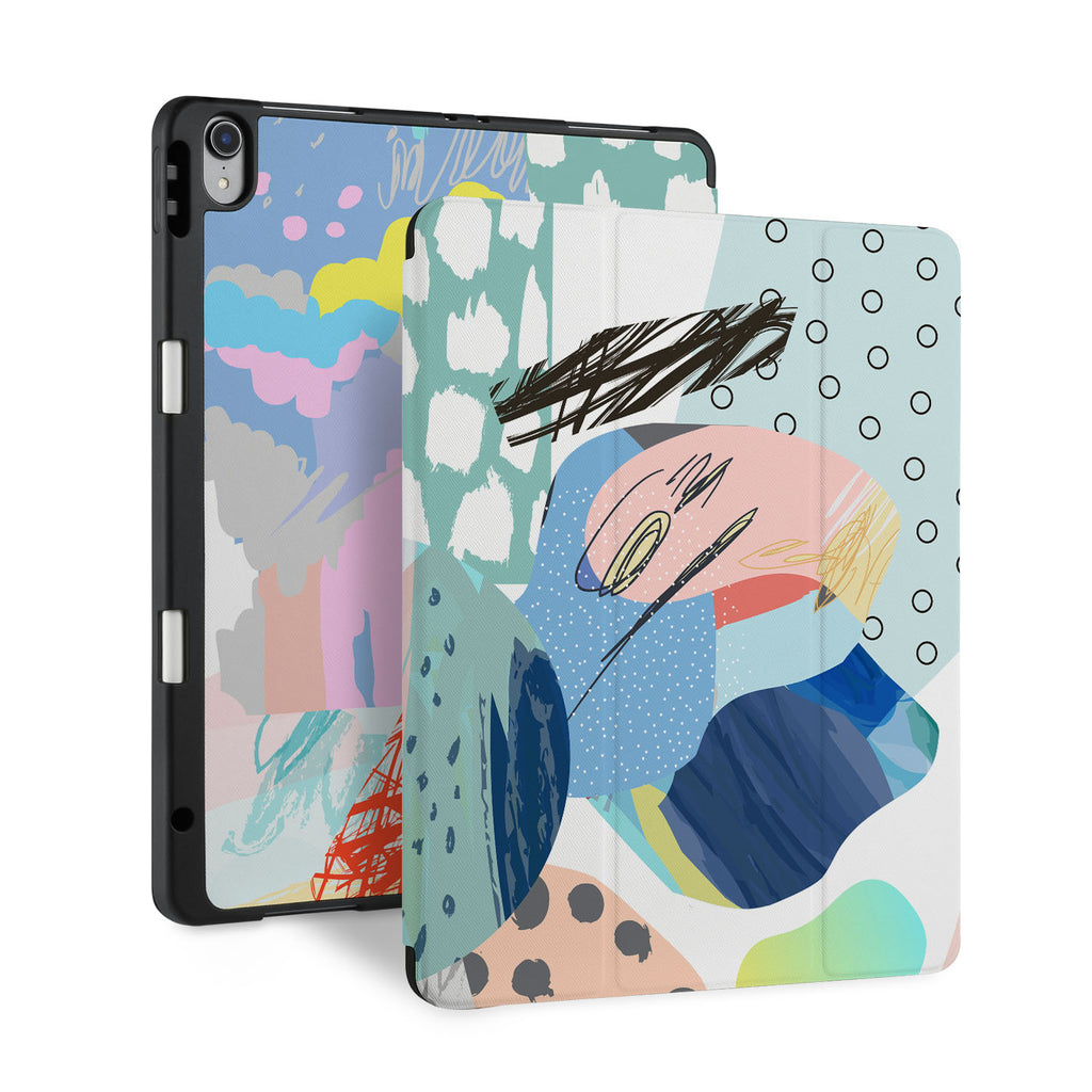 front and back view of personalized iPad case with pencil holder and Doodle Scribbles design