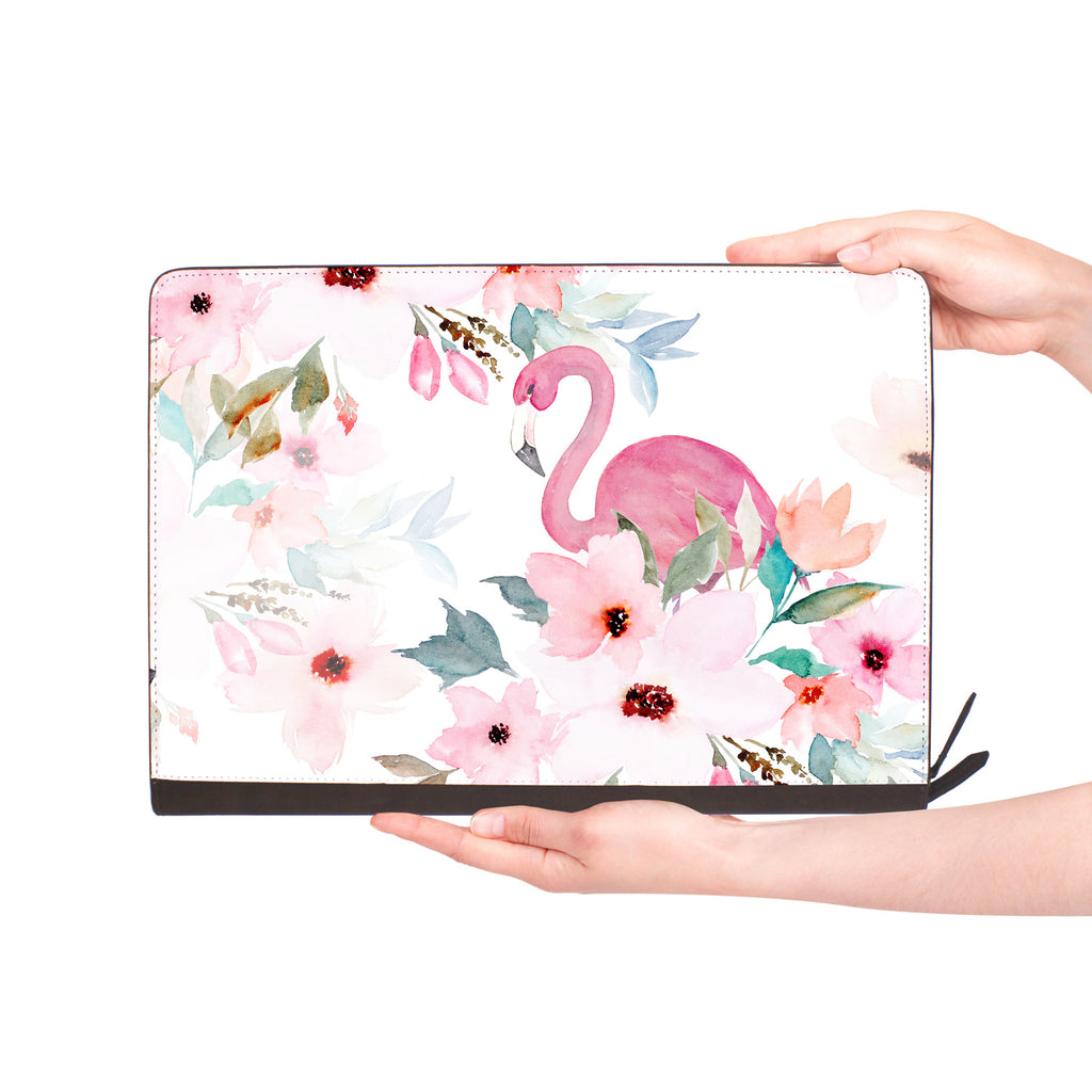 macbook air inside of personalized Macbook carry bag case with Flamingo design