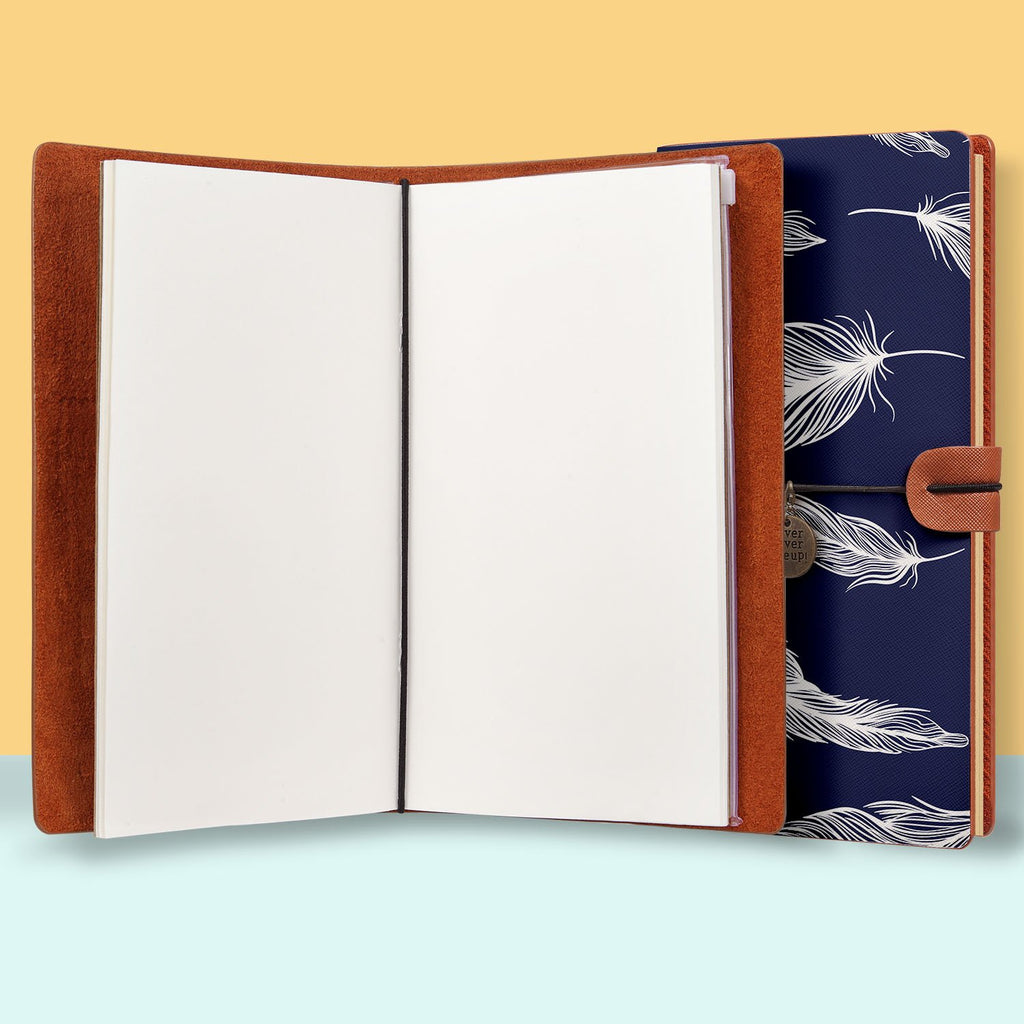 the front top view of midori style traveler's notebook with Feather design