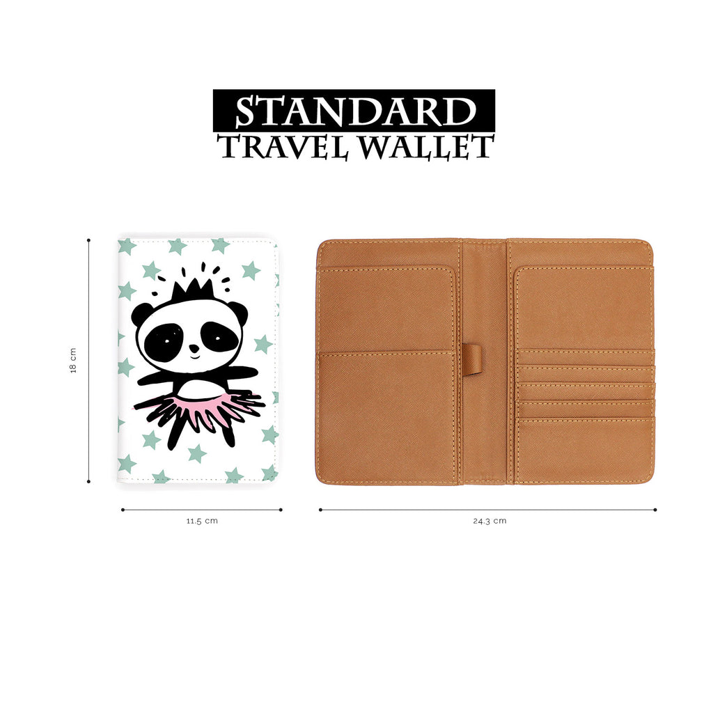 standard size of personalized RFID blocking passport travel wallet with Pandas design