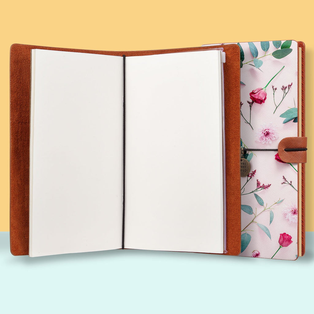 the front top view of midori style traveler's notebook with Flat Flower 2 design