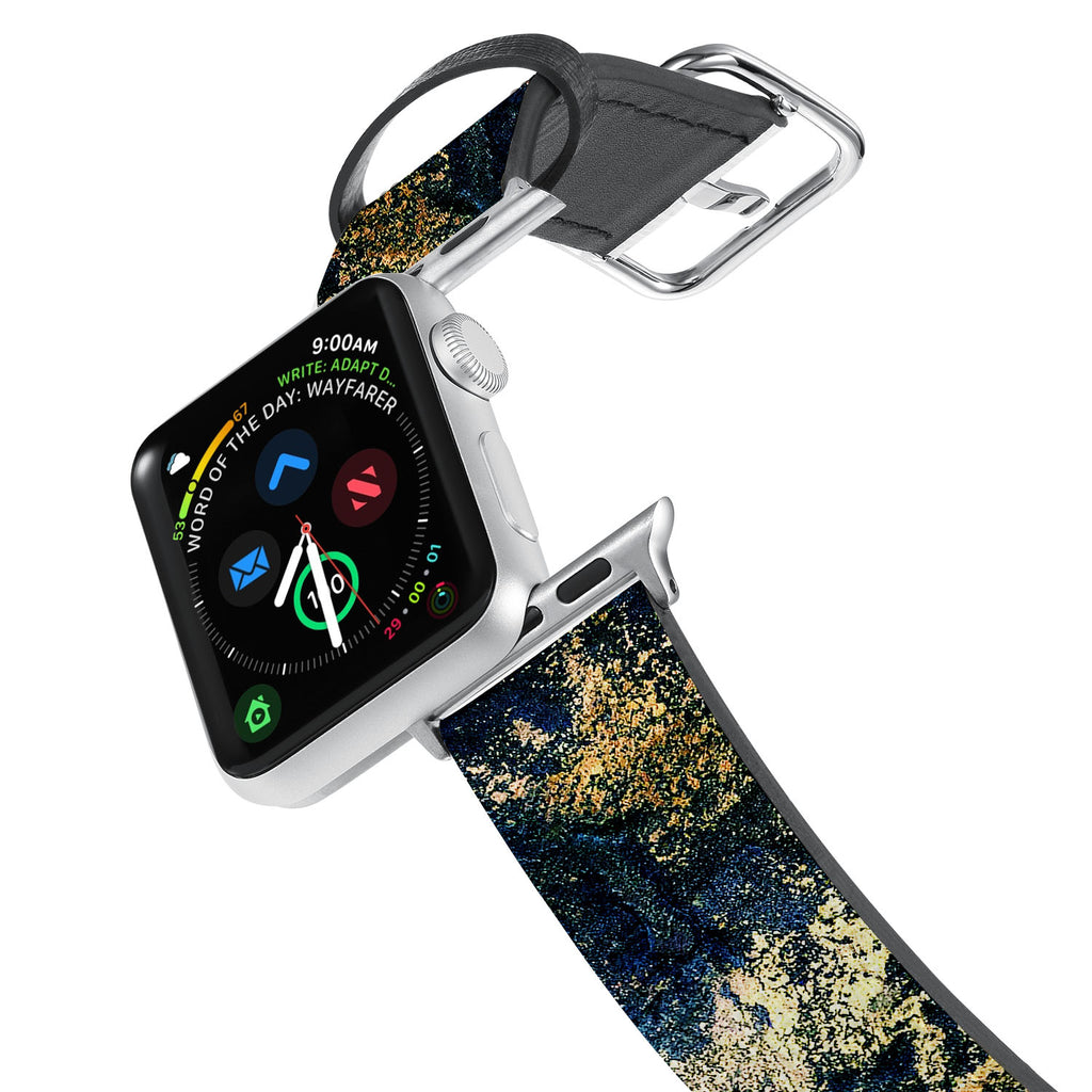 Printed Leather Apple Watch Band with Cornish Coast design. Designed for Apple Watch Series 4,Works with all previous versions of Apple Watch.