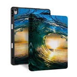 front and back view of personalized iPad case with pencil holder and Sunrise design