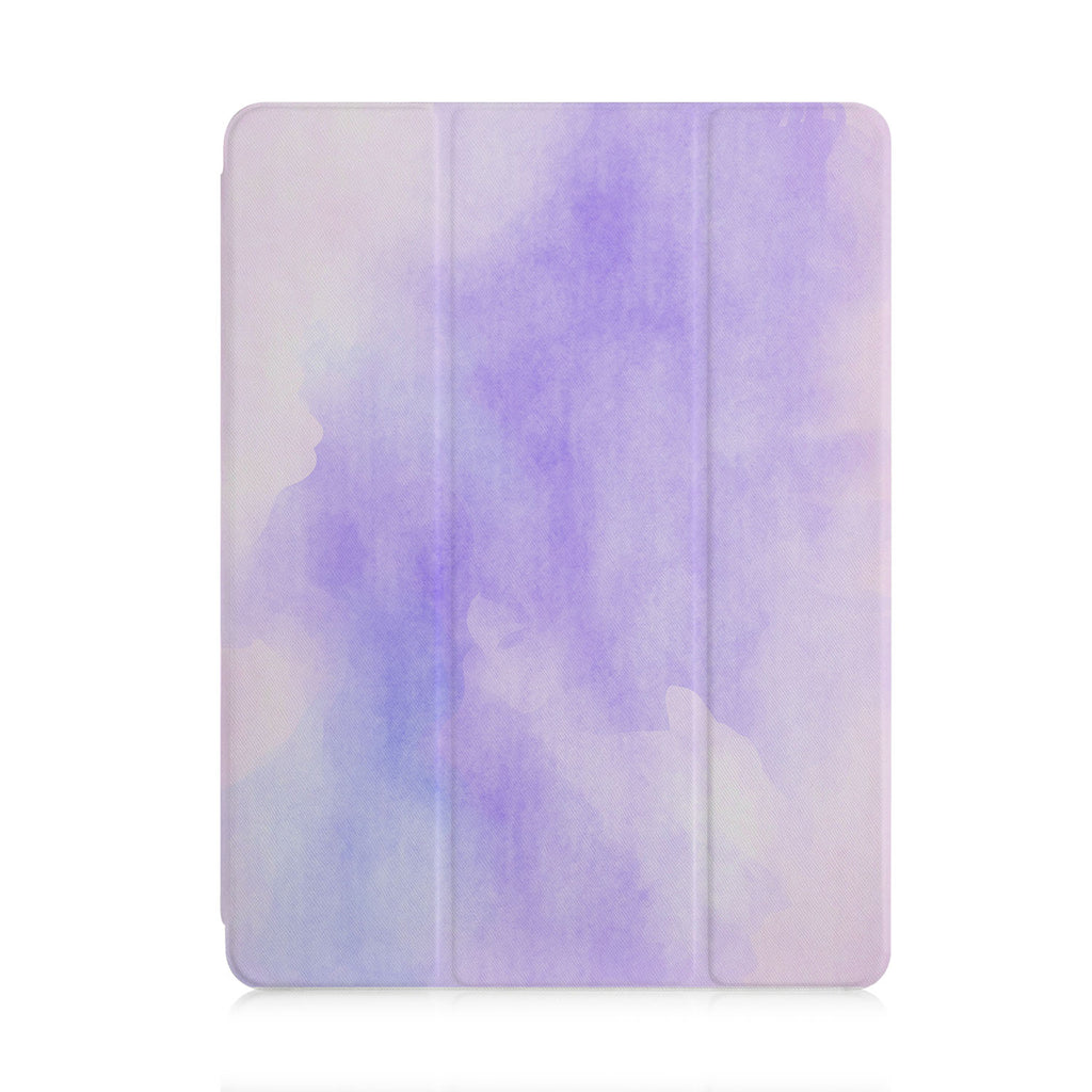 front view of personalized iPad case with pencil holder and Watercolour design