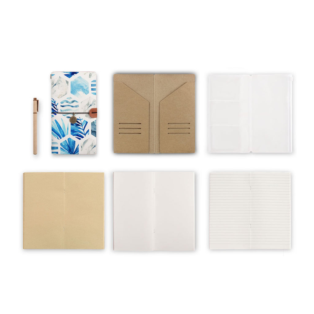 midori style traveler's notebook with Geometric Flower design, refills and accessories