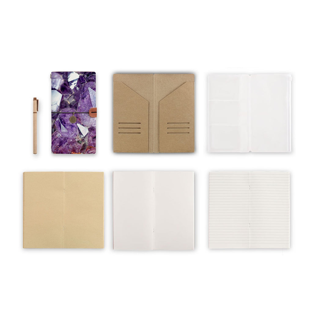 midori style traveler's notebook with Crystal Diamond design, refills and accessories