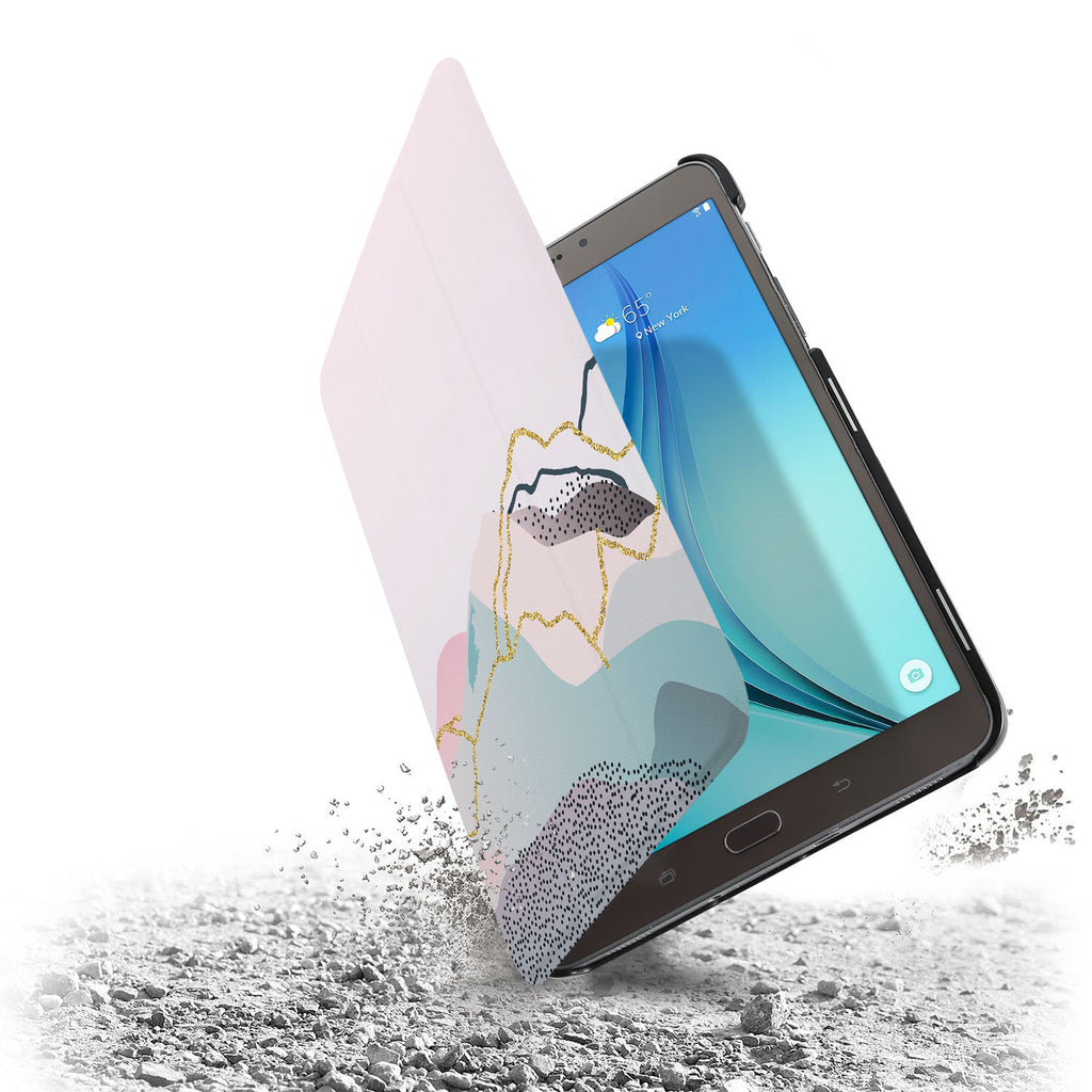 the drop protection feature of Personalized Samsung Galaxy Tab Case with Marble Art design