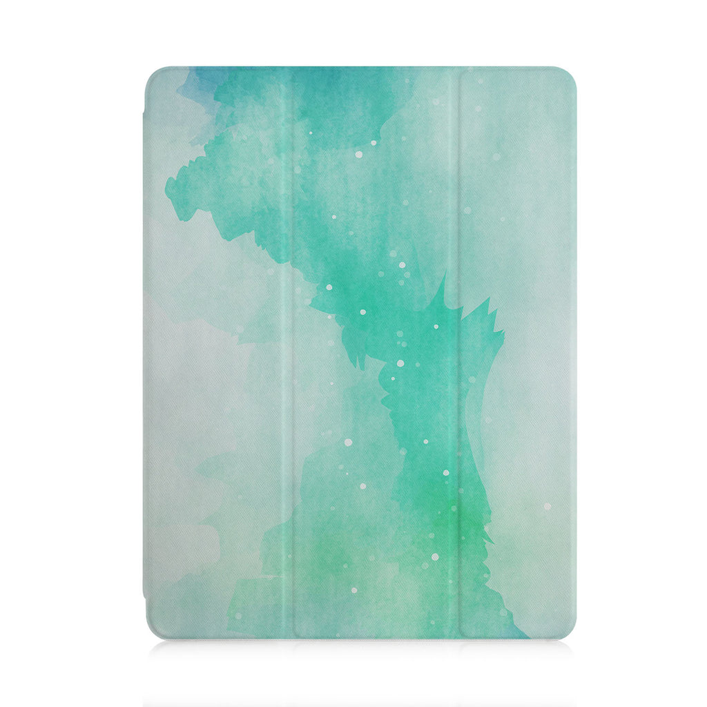 front and back view of personalized iPad case with pencil holder and Abstract Watercolor Splash design