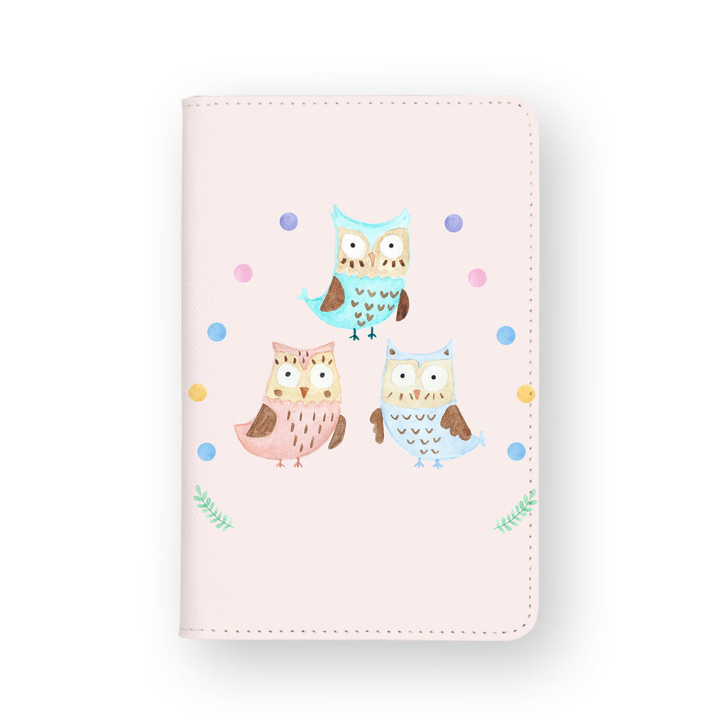 front view of personalized RFID blocking passport travel wallet with Happy Owls design
