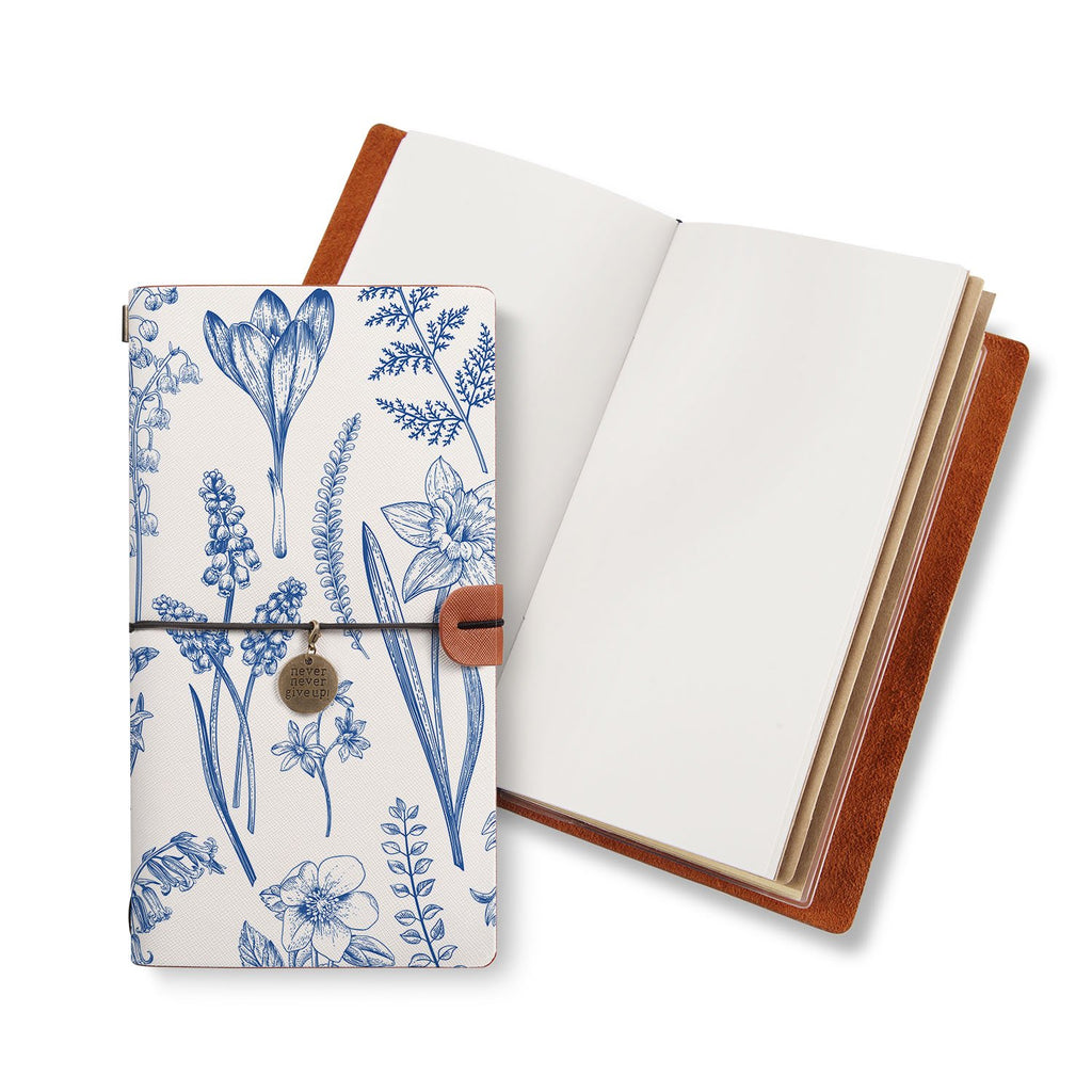 opened midori style traveler's notebook with Flower design