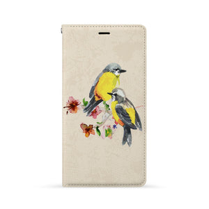 Front Side of Personalized Huawei Wallet Case with Birds design