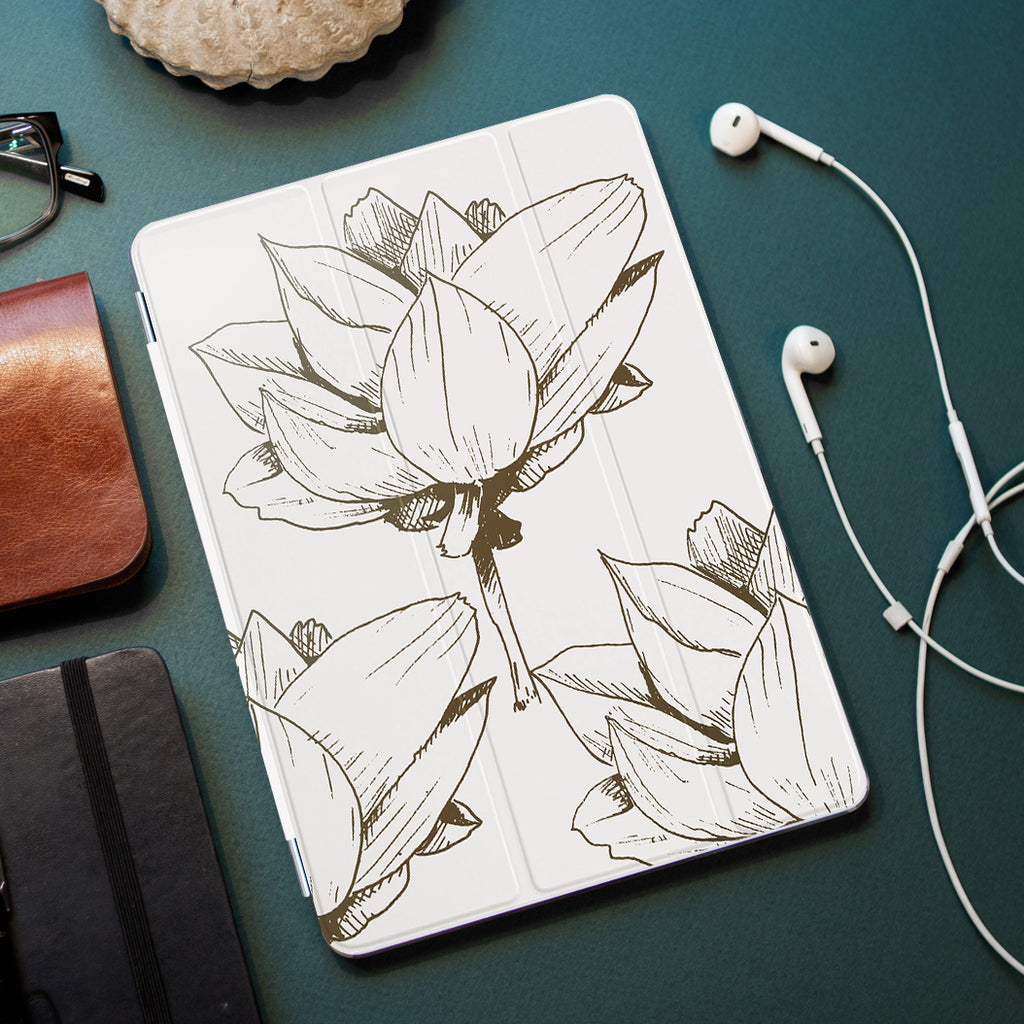 personalized iPad case smart cover with Bloom Flourish design on the office desk