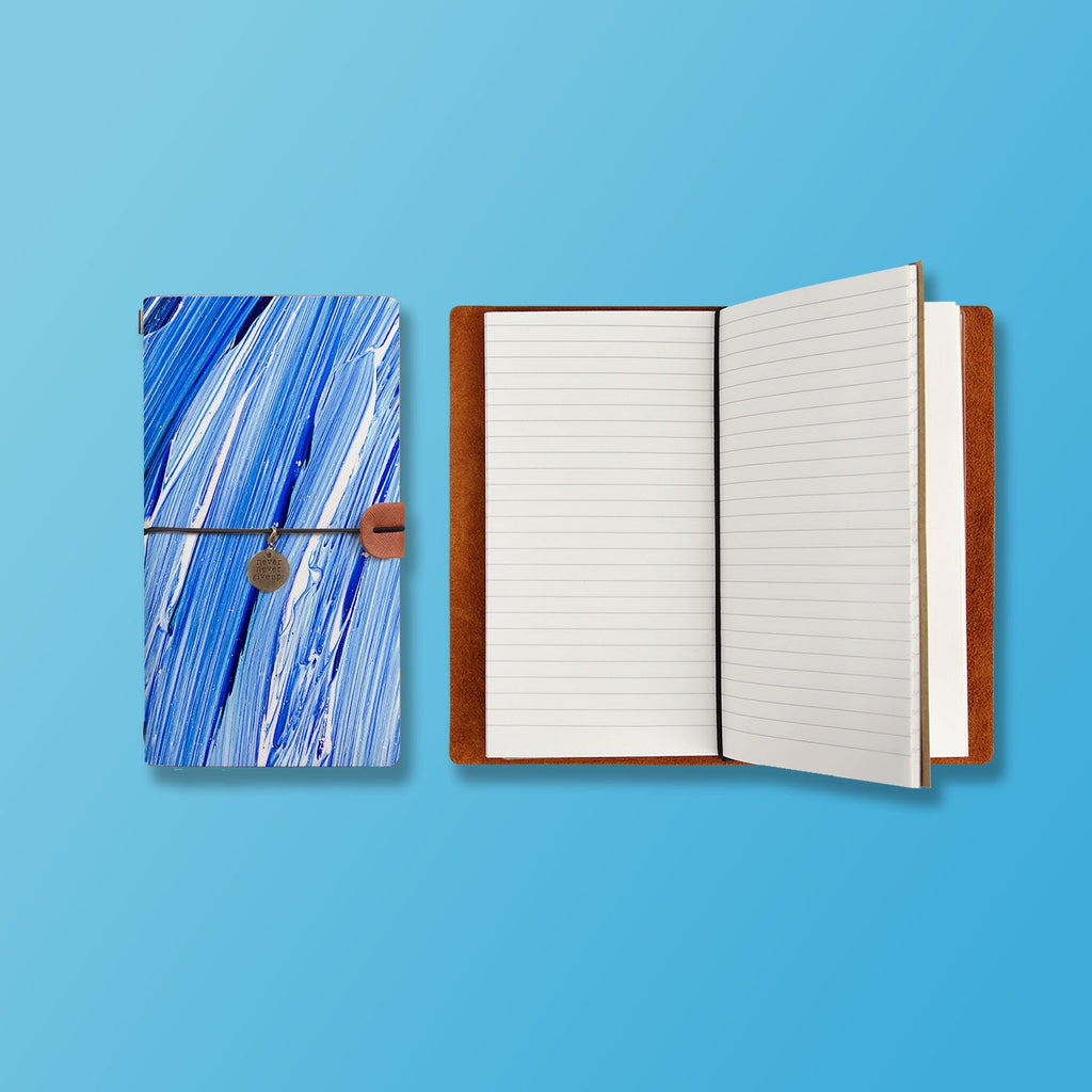 the front top view of midori style traveler's notebook with Futuristic design