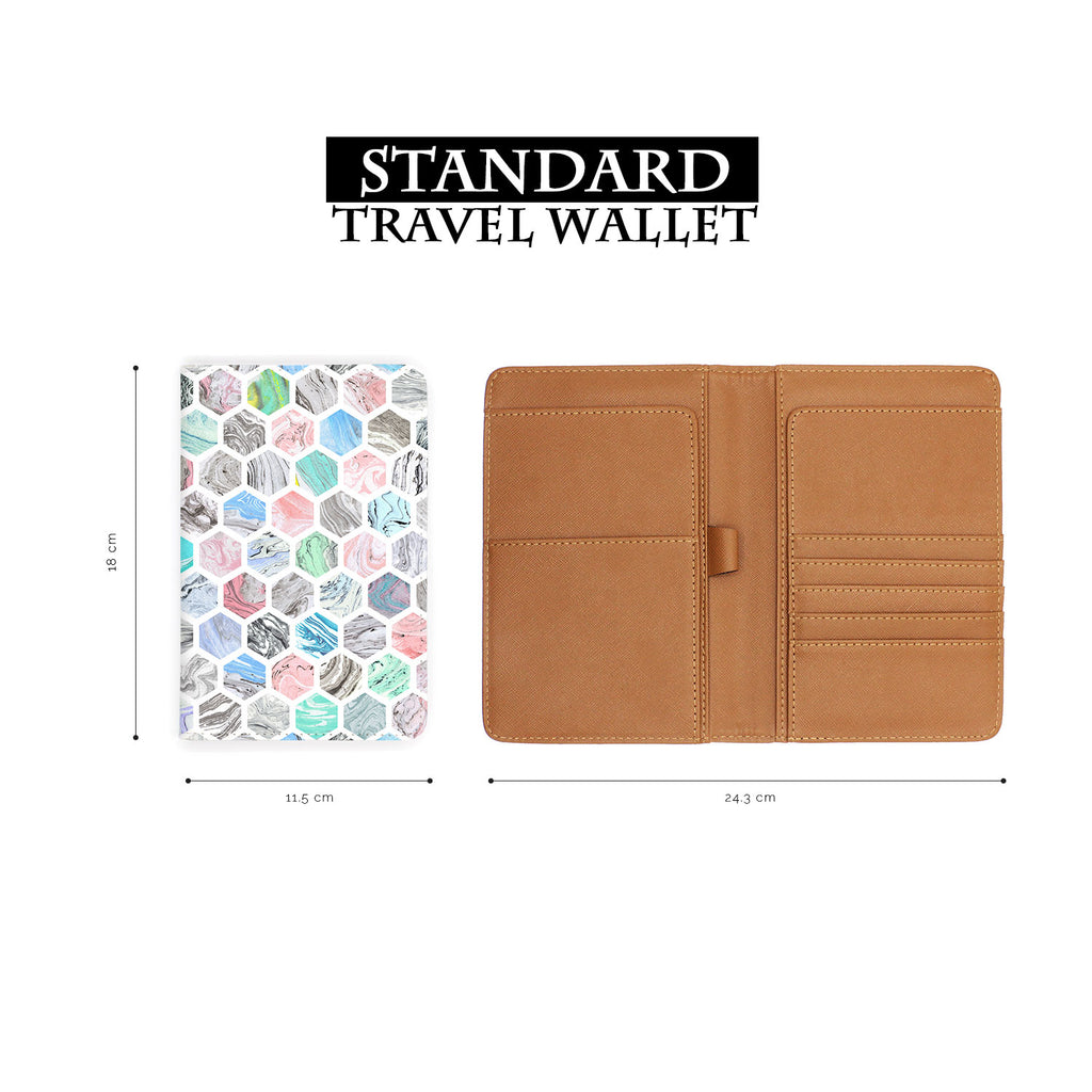 standard size of personalized RFID blocking passport travel wallet with Marble Tiles design