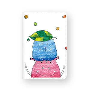 front view of personalized RFID blocking passport travel wallet with Cute Monster Enjoyillustration design