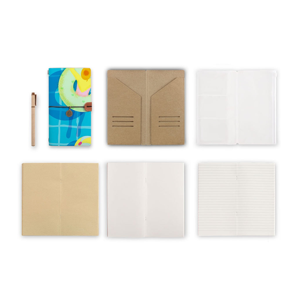 midori style traveler's notebook with Beach design, refills and accessories