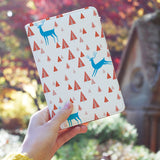 a girl holding personalized RFID blocking passport travel wallet with Fox And Deer design