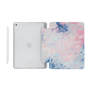 iPad SeeThru Casd with Oil Painting Abstract Design Fully compatible with the Apple Pencil
