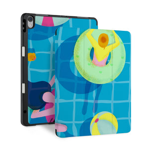 front back and stand view of personalized iPad case with pencil holder and Beach design - swap