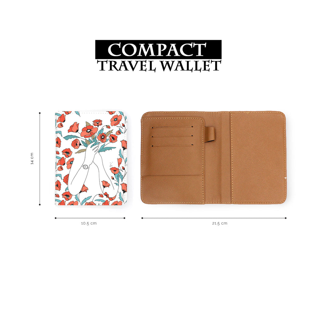 compact size of personalized RFID blocking passport travel wallet with Flower Girl design