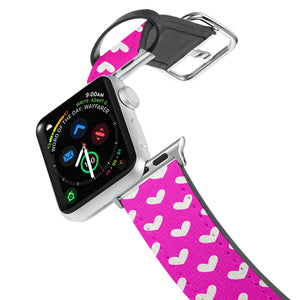 Printed Leather Apple Watch Band with Valentine design. Designed for Apple Watch Series 4,Works with all previous versions of Apple Watch.