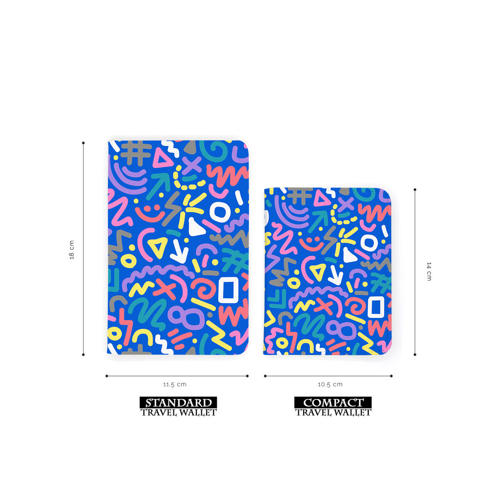 comparison of two sizes of personalized RFID blocking passport travel wallet with 90 Patterns design