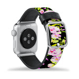 Printed Leather Apple Watch Band with Flower 2 design Like all Apple Watch bands, you can match this band with any Apple Watch case of the same size