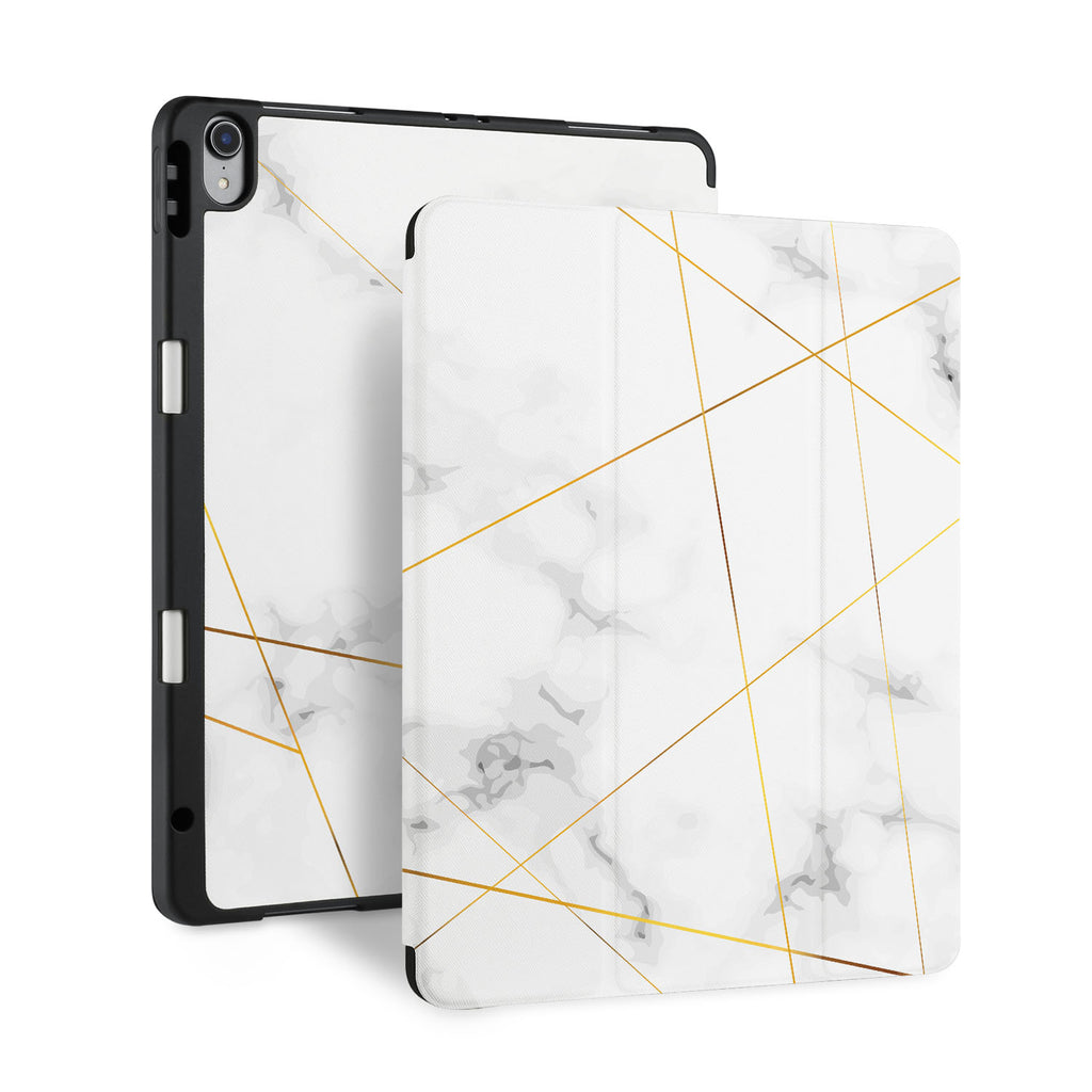 front and back view of personalized iPad case with pencil holder and Marble 2020 design
