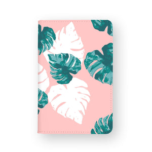front view of personalized RFID blocking passport travel wallet with Pink Flower 2 design