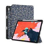 front back and stand view of personalized iPad case with pencil holder and Zen design