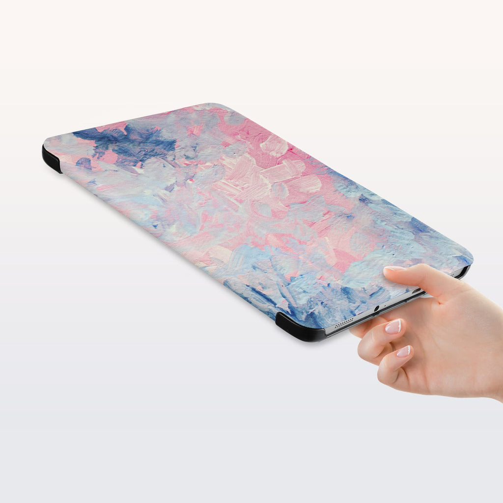 a hand is holding the Personalized Samsung Galaxy Tab Case with Oil Painting Abstract design