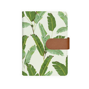 front view of personalized personal organiser with Green Leaves design