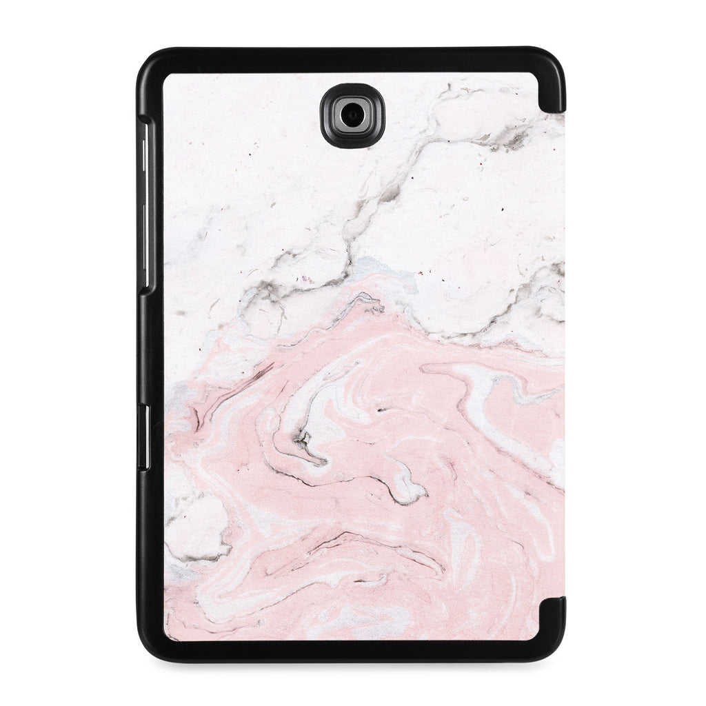 the back view of Personalized Samsung Galaxy Tab Case with Pink Marble design