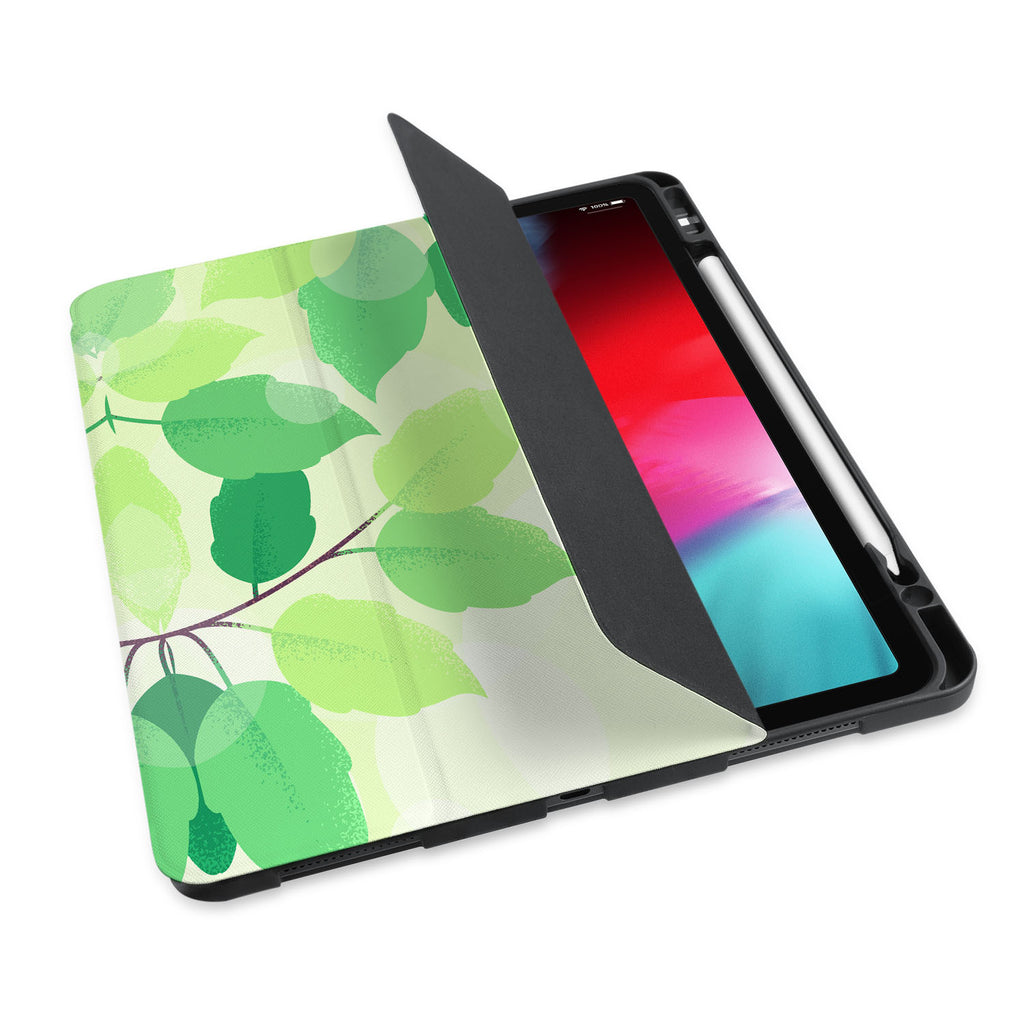 personalized iPad case with pencil holder and Leaves design - swap