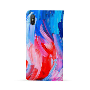 Back Side of Personalized Huawei Wallet Case with Abstract Painting design - swap