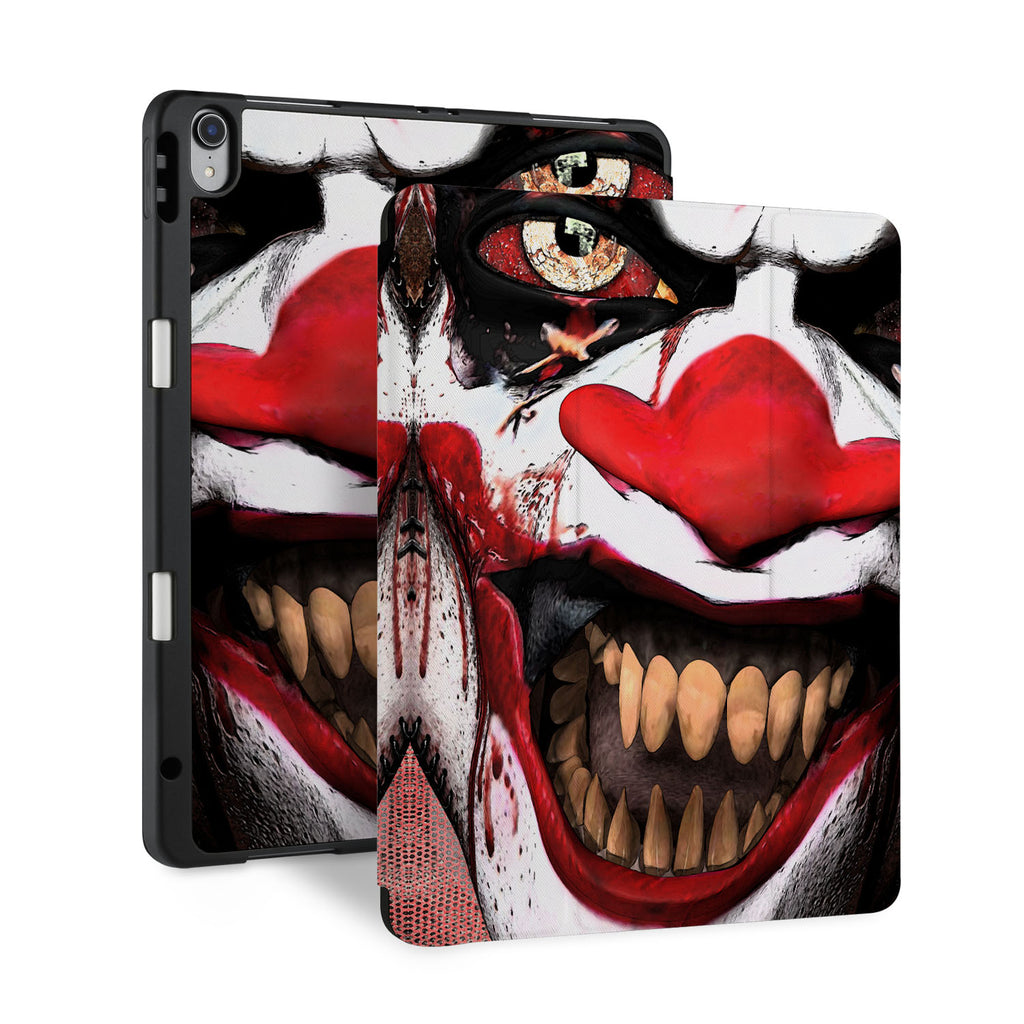 front and back view of personalized iPad case with pencil holder and Halloween 2 design