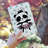 a girl holding personalized RFID blocking passport travel wallet with Pandas design