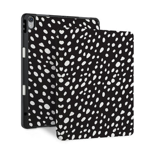 front and back view of personalized iPad case with pencil holder and Black design