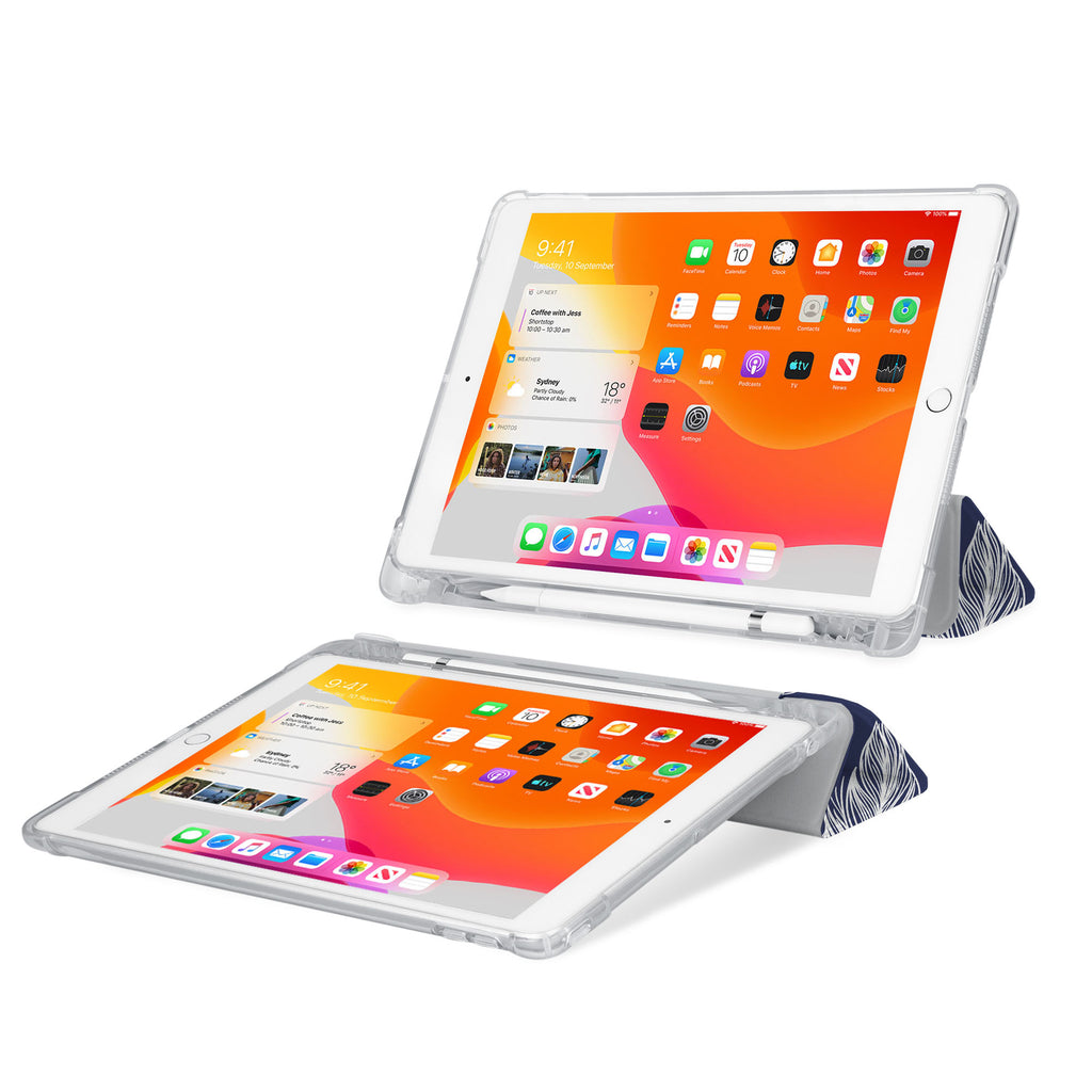 iPad SeeThru Casd with Feather Design Rugged, reinforced cover converts to multi-angle typing/viewing stand