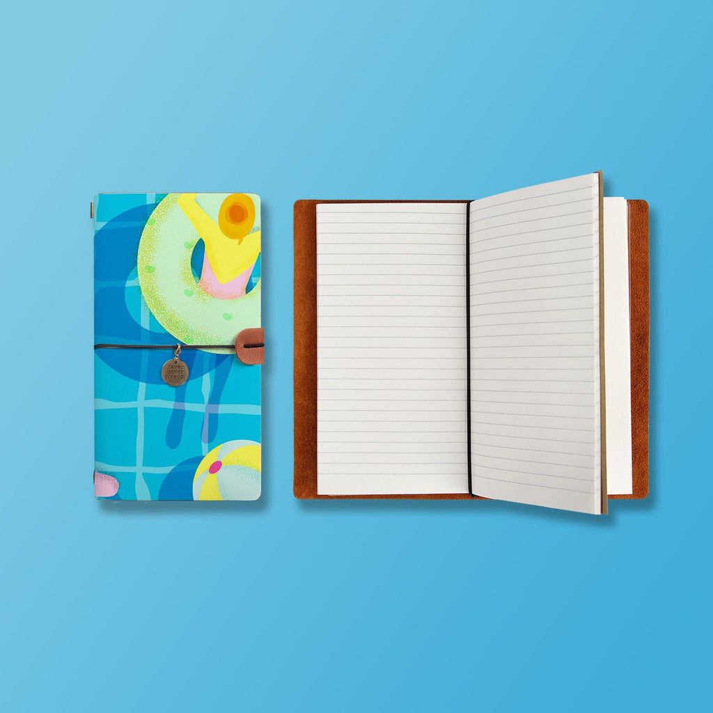 the front top view of midori style traveler's notebook with Beach design