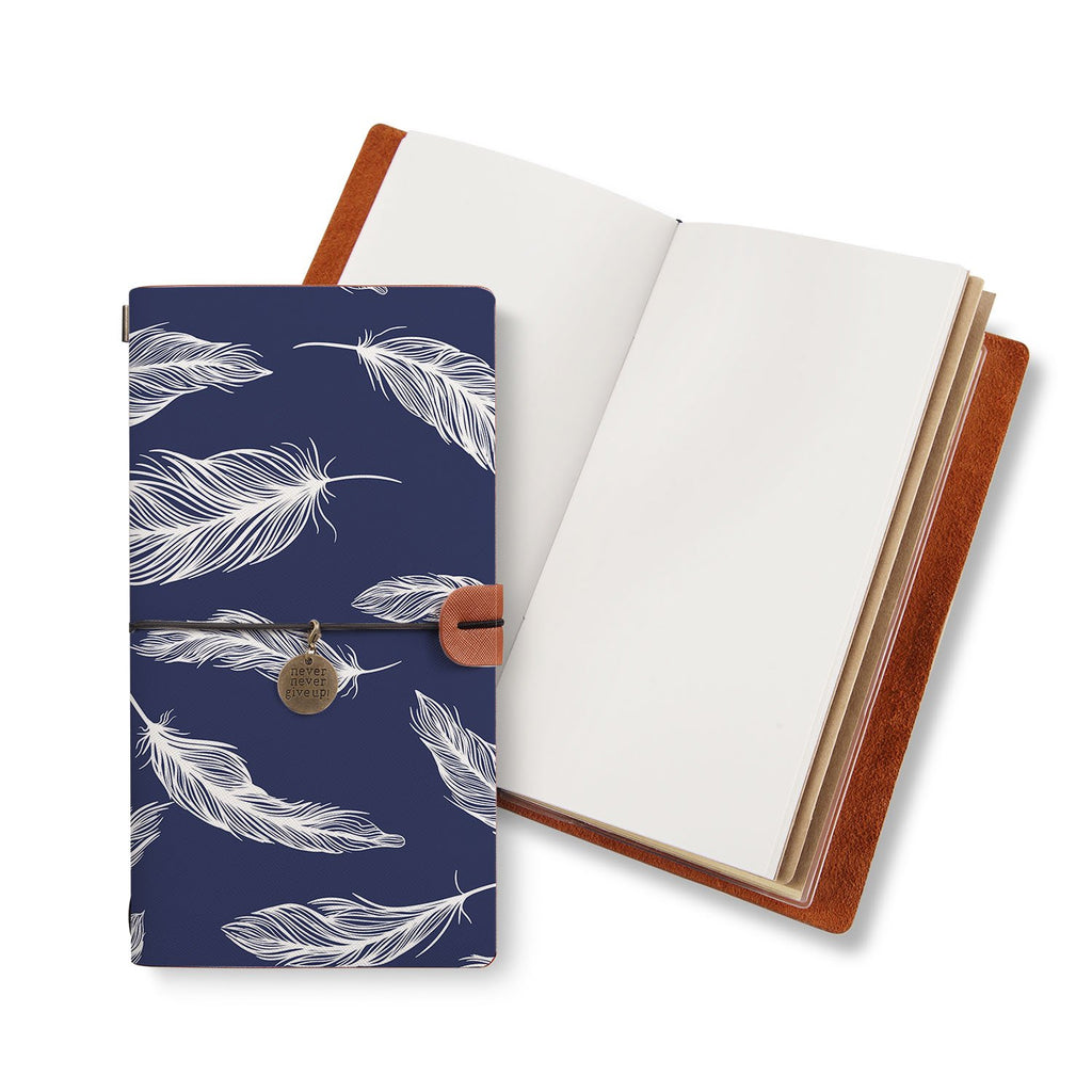 opened midori style traveler's notebook with Feather design