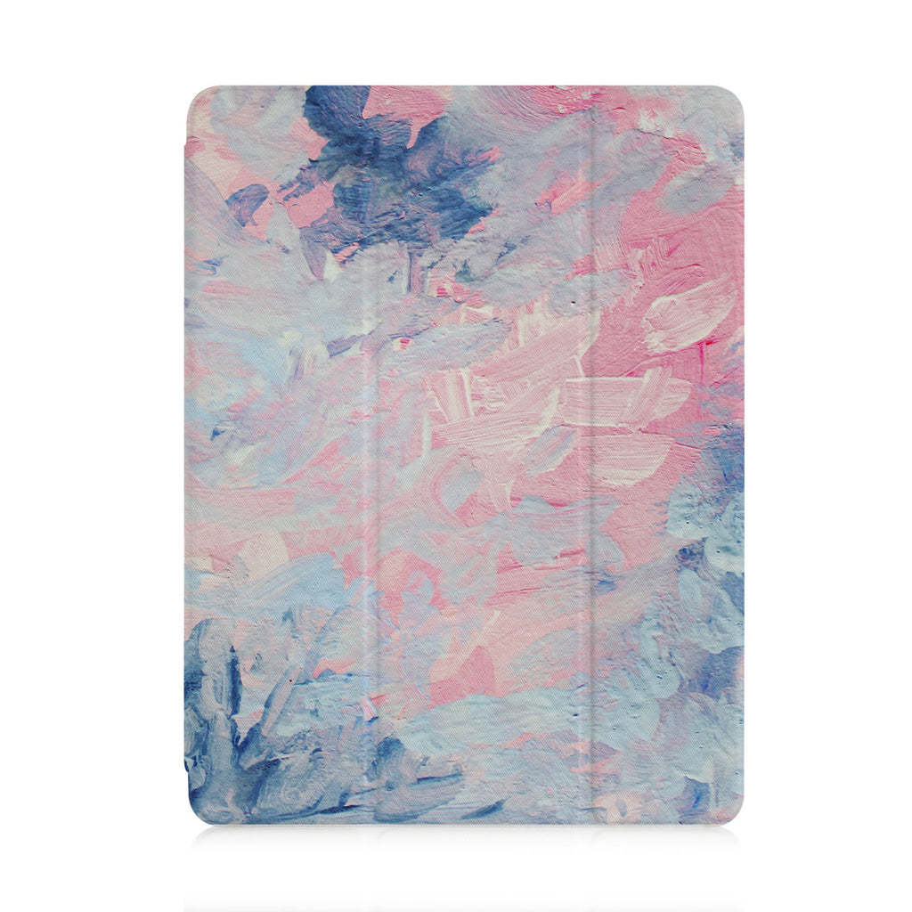front and back view of personalized iPad case with pencil holder and Oil Painting Abstract design
