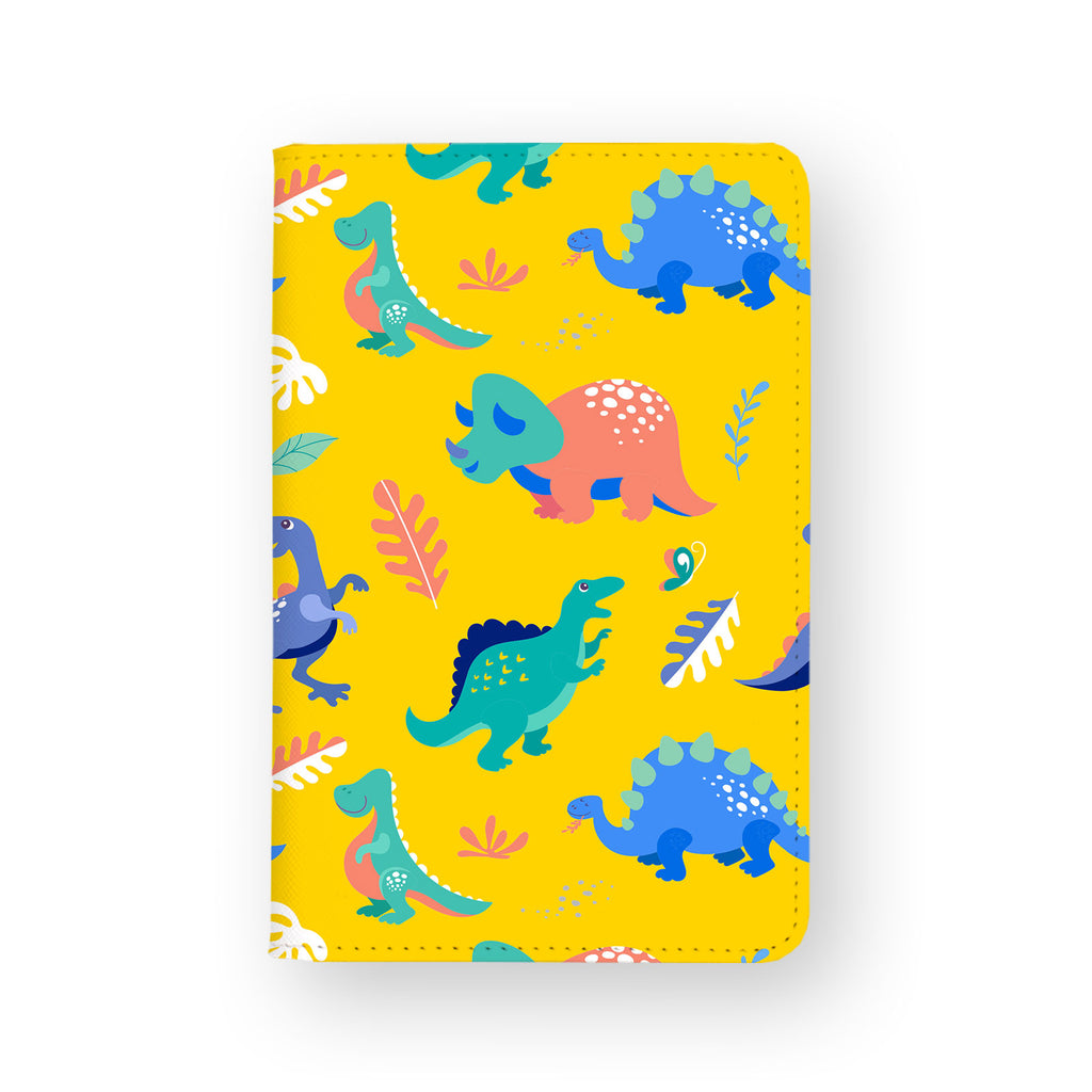 front view of personalized RFID blocking passport travel wallet with Dinosour design