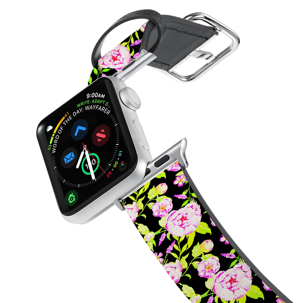 Printed Leather Apple Watch Band with Flower 2 design. Designed for Apple Watch Series 4,Works with all previous versions of Apple Watch.