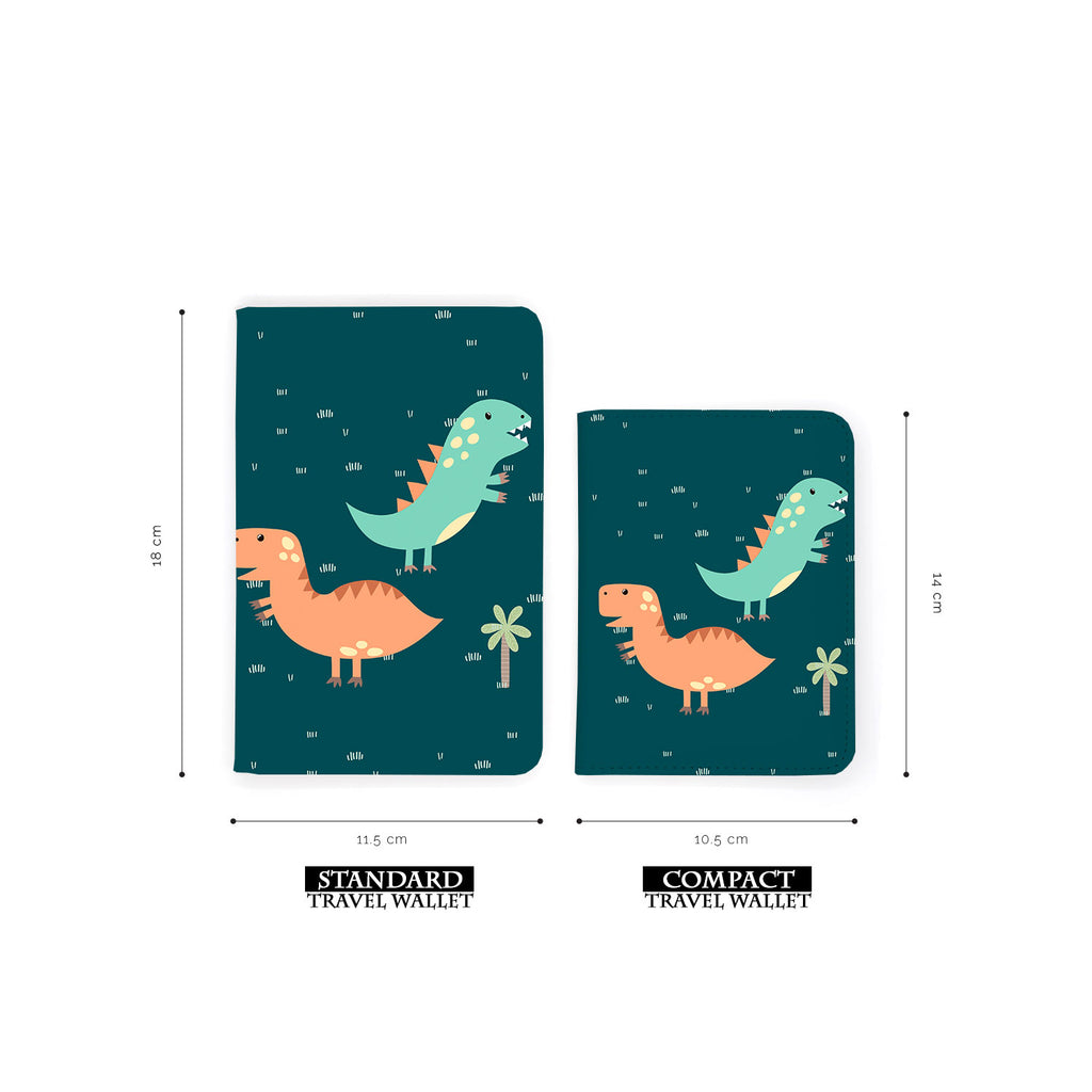 comparison of two sizes of personalized RFID blocking passport travel wallet with Dino Party design