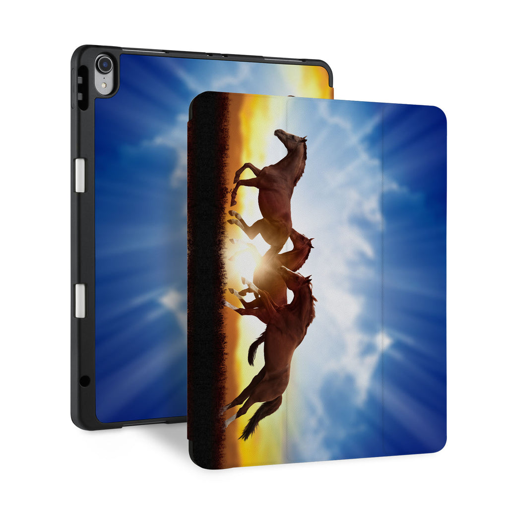 front back and stand view of personalized iPad case with pencil holder and Horse design - swap